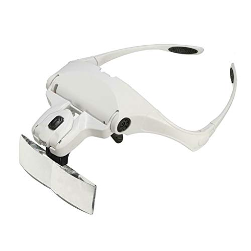 ErYao Hands Free Headband Magnifying Glass, USB Charging Head Magnifier with LED Light Jewelry Craft Watch Hobby 5 Lenses 1.0X 1.5X 2.0X 2.5X 3.5X (White)