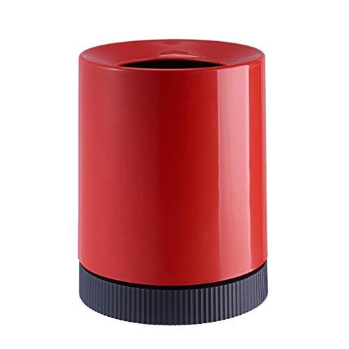 XLAHD Mini Bote de Basura,Bote de Basura,Bote de Basura Circular de plástico para el hogar,Papelera,Papelera Creativa para Sala de Estar,Bote de Basura de Escritorio de 10 l (Color:Rojo)