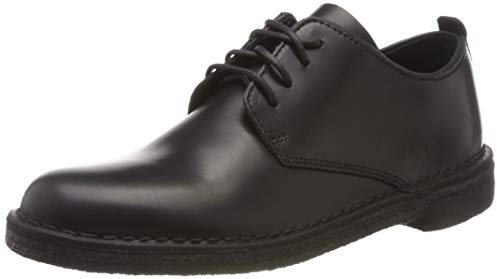Clarks Desert London, Scarpe Stringate Derby Donna, Nero (Black Polished Black Polished), 40 EU