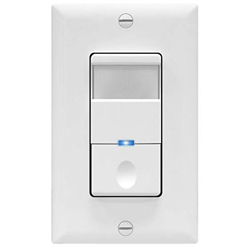 TOPGREENER PIR Passive Infrared Motion Sensor Switch, No Neutral Required, 4A 500W 1/8HP, 120-277VAC, Occupancy Vacancy, Ground Wire Required, Single Pole, TDOS5-J-W, White