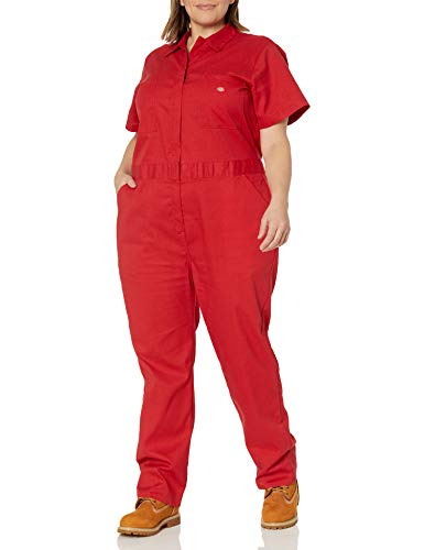 Dickies Women's Plus Size Flex Short Sleeve Coverall, English Red, 2PS