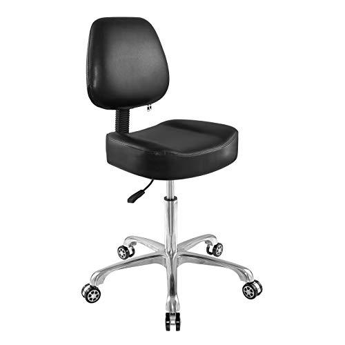 Taburete con ruedas ajustable, resistente, con ruedas, para oficina, hogar, escritorio de gran tamaño, (sin reposo de pies)