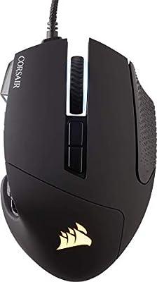 Corsair Scimitar ELITE RGB Optical MOBA/MMO Gaming Mouse (18000 DPI Optical Sensor, 17 Programmable Buttons, 4-Zone RGB Multi-Colour Backlighting, Contoured Shape, On-Board Storage) - Black