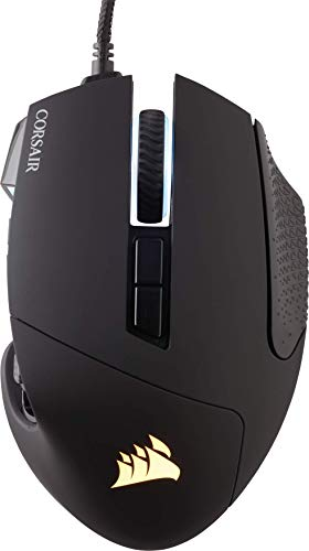 Corsair Scimitar Elite RGB Óptico MOBA/MMO Ratón para Juegos, 18.000 PPP Óptico Sensor, 17 Botones Programables, Retroiluminación RGB Dinámica en Cuatro Zonas, Forma Contorneada, Color Negro