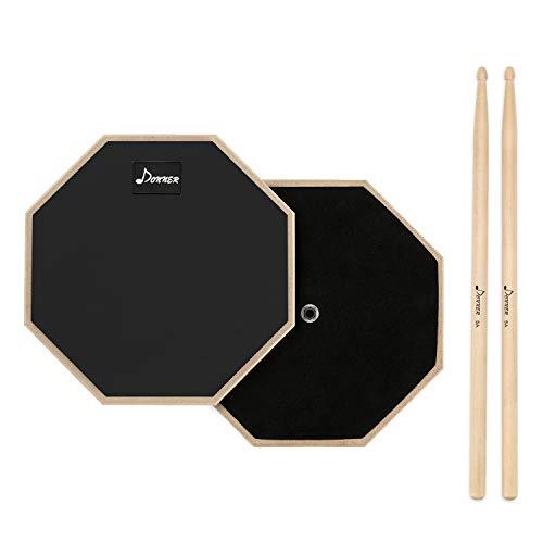 Donner Practice Pad Drum Übungspad 8 Zoll/20.32cm mit Drumsticks, Schwarz