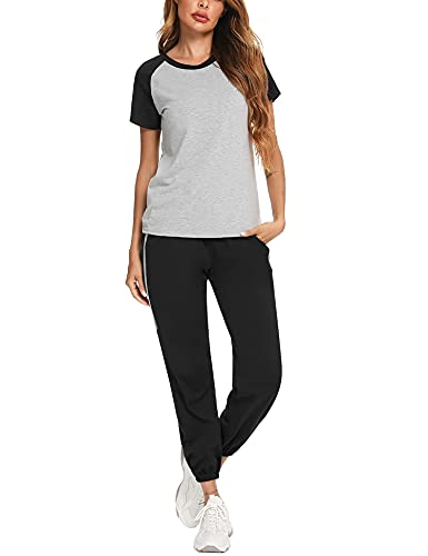 Wayleb Ropa Deportiva Mujer Conjuntos Deportivo Mujer Algodón Chandal Mujer Completo Verano Pijama Conjutos 2 Piezas Set Camiseta y Pantalones Traje Deportivo de Manga Corta