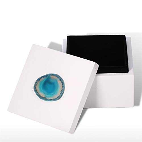 Yousiju Rectangular Jewelry Box (Blue Agate) Wooden Agate Decoration Ring Necklace Storage Box Birthday Gifts Black Velvet (Size : Square-Small)