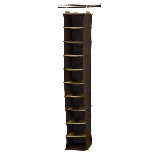 Household Essentials Organizador Colgante para clóset, 6 estantes, Café, Marrón, 10 Pocket, 1