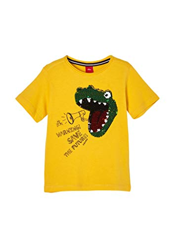 s.Oliver Jungen T-Shirt mit Pailletten-Motiv yellow 116/122.REG