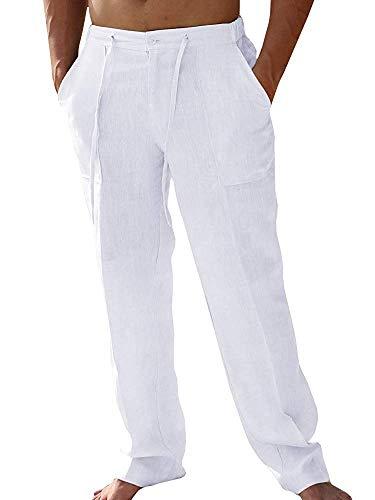 Hooleeger, pantaloni lunghi da uomo, in lino, per il tempo libero, estivi, in cotone, leggeri 2-bianco. M