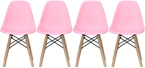2xhome - Set of Four (4) - Pink - Kids Size Side Chairs Pink Seat Natural Wood Wooden Legs Eiffel Childrens Room Chairs No Arm Arms Armless Molded Plastic Seat Dowel Leg