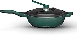 ZLDGYG Woks antiadhésives Poêlées casseroles avec couvercle, Nonstick Frying Wok à fond plat, moins d'huile fumée, Wok mul...