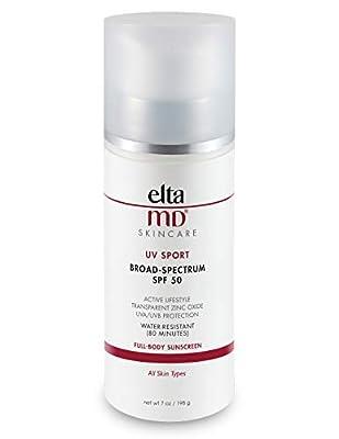EltaMD UV Sport Sunscreen Lotion, Broad-Spectrum SPF 50, Non-Greasy, Mineral-Based Zinc Oxide Formula, Water-Resistant, 7 oz.
