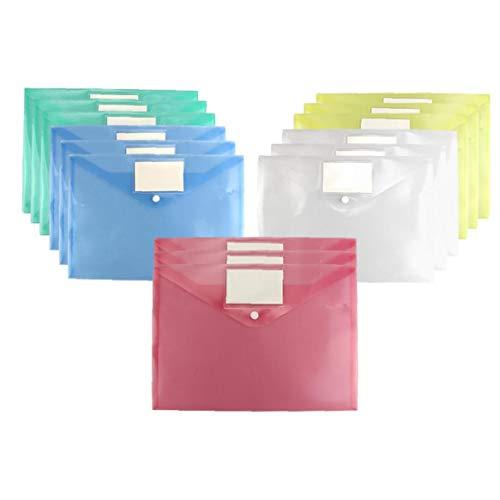 15st Löschen Dokumentordner A4 Größe Mit Druckknopf Und Tag Tasche Sortierte Farbe Wasserdichten Datei-Umschlag