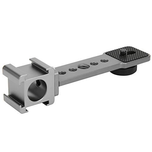 Barra de extensión de zapata fría triple, soporte de extensión de zapata fría de aleación de aluminio con orificio de tornillo de 1/4 in y 3/8 in para cámara deportiva con estabilizador de teléfono mó
