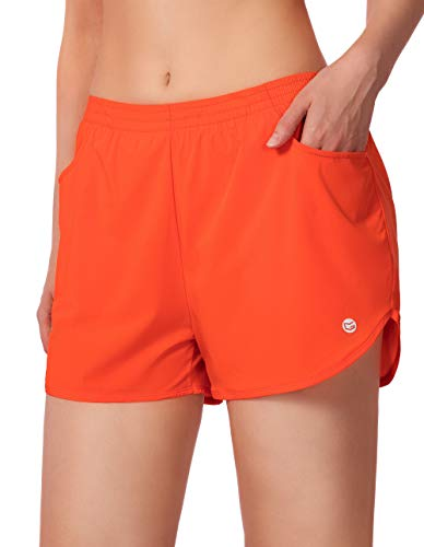 G Gradual Women's Running Shorts 3' Athletic Workout Shorts for Women with Zipper Pockets (Orange, Small)