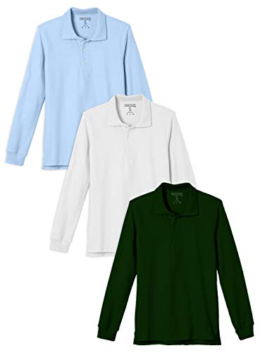 Andrew Scott Boys 3-Pack Boys' Long Sleeve Pique Polo Shirts/School Uniform Polo Shirts (3 Pack- Assorted Color, 4T)