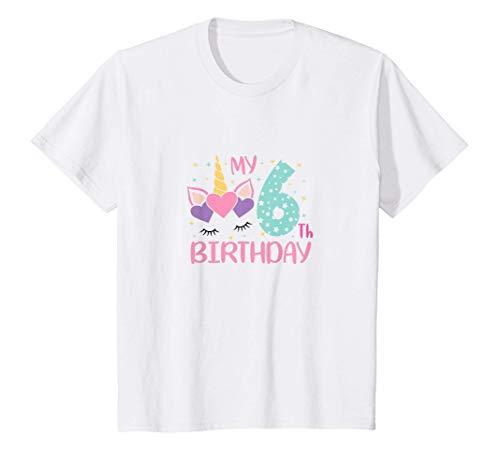 Niños Unicornio cumpleaños 6 (seis) años niña número 6 fiesta Camiseta