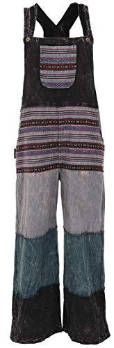 Guru-Shop Patchwork Latzhose, Japan Style, Boho Hose - Schwarz, Damen, Baumwolle, Size:L/XL, Lange Hosen Alternative Bekleidung