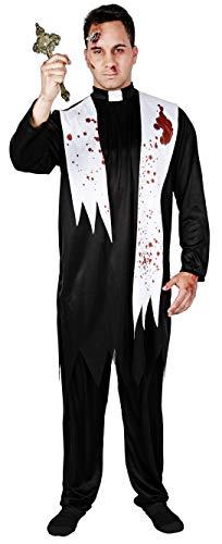 Gojoy shop- Disfraz de Cura Zombi para Hombres Halloween Canaval (Contiene Cuello, Camisa con Bufanda con Sangre y Pantaln, Talla Unica)