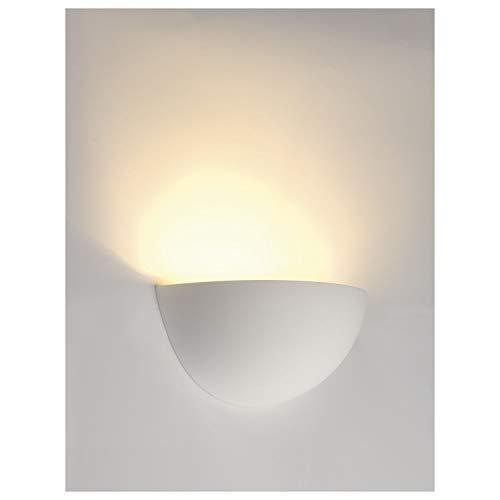 SLV 148013 - Lámpara de pared (GL 101, de yeso semicircular con pintura de pared y acero, E14, 230 V, máx. 40 W), color blanco