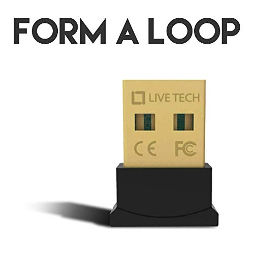 Live Tech Loop USB Bluetooth Adapter for PC, 4.0 Bluetooth USB Dongle Receiver Support Windows 10/8.1/8/7/XP for Desktop, Laptop, and Others