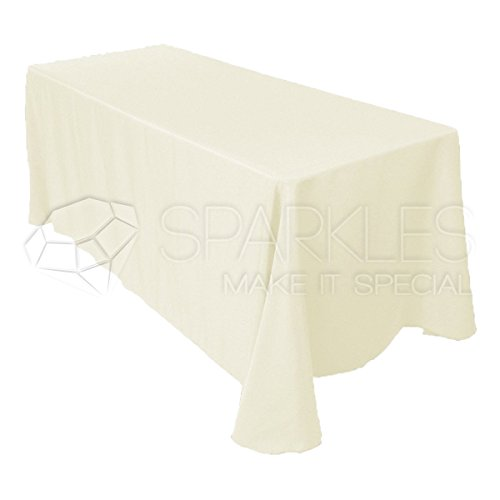 """Sparkles Make It Special 10-pcs 90"""" x 132"""" Inch Rectangular Polyester Cloth Fabric Linen Tablecloth - Wedding Reception Restaurant Banquet Party - Machine Washable - Choice of Color - Ivory"""