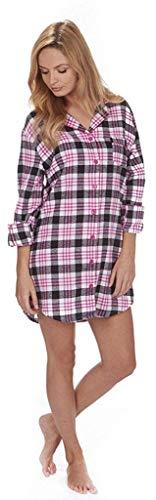 Damen Wincy Winceyette Baumwolle Nachthemd Prüfen, Knopfleiste Hemdskragen Nachthemd Marineblau Fuchsie Aqua Pink Schwarz Weiß Size 8 10 12 14 16 18 20 22 - Rosa/Schwarz/Weiß, S 36/38