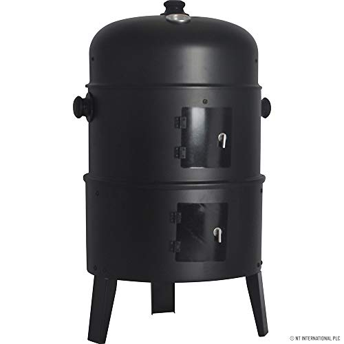 ROUND SMOKER BBQ CHARCOAL BARBECUE GRILL OUTDOOR GARDEN PATIO PARTY COOKER NEW