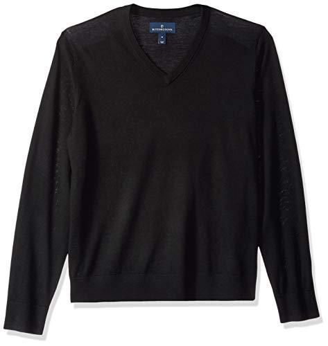 Marque Amazon – BUTTONED DOWN Pull léger en laine mérinos italienne avec col en V pour homme, Noir (Black Bla), US XS (EU XS)
