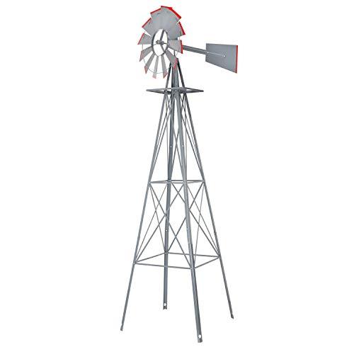 Fullwatt 8FT Ornamental Windmill Yard Garden Decoration Weather Vane, Backyard Windmill with Red Tips Metal Windmill for Yard Weather Resistant (Grey)