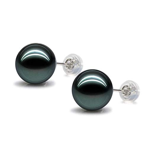XTR Pendientes de Plata de Ley Fashion S 8-12mm Estilo tahitiano Pendientes de Perla de Concha Natural Negrapara Mujeres