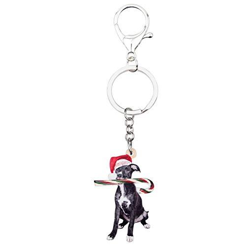 HXYKLM Acryl Kerst Zwart Beagle Hond Snoep Rietje Sleutelhangers Auto portemonnee Tas Huisdier Sleutelhangers Decoraties Voor Lady Meisje Charm Gift