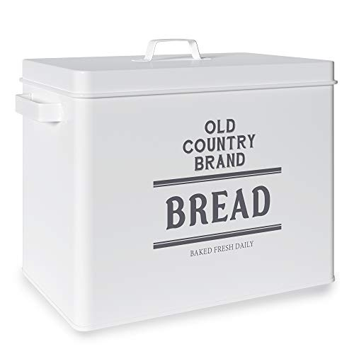 Barnyard Designs Large Bread Box Storage Container, Stainless Steel Metal Breadbox, Old Country Brand Vintage Bread Holder for Kitchen Counter, Farmhouse Style Bread Keeper Bin, White, 13' x 10.25'