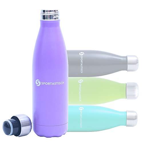 Sportastisch GEHEIMTIPP¹ Trinkflasche Vacu Drink, 500ml Wasserflasche Thermosflasche aus Edelstahl, Vakuum Sportflasche Isolierflasche für Kinder Sport Fahrrad mit bis zu 3 Jahren Garantie²