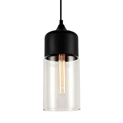 Europa moderno soppalco appeso nero colore chiaro vetro lampada a sospensione infissi E27 LED lampade a sospensione cucina ristorante bar soggiorno camera da letto (C)