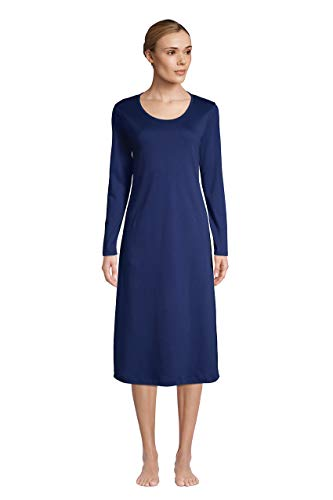 Lands' End Women Long Sleeve Supima Midcalf Nightgown Deep Sea Navy Tall Large