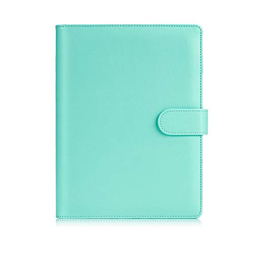 Sooez A5 Notebook Binder, 6 Ring Planner with Stylish Design, Loose Leaf Personal Organizer Binder Cover with Magnetic Buckle Closure, PU Leather Binder for Women with Macaron Colors (Mint Green)