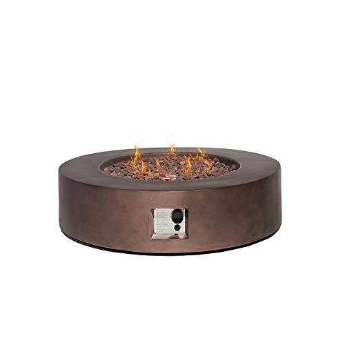 Save %27 Now! HOMPUS Propane Patio Fire Pit Table, Lava Rocks and Rain Cover for Outdoor Leisure Par...