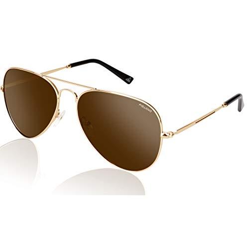 fawova Gafas Aviador Hombre Polarizadas Marron, Gafas Sol Hombre Polarizads Montura de Metal Oro, UV400,Cat.3,58mm