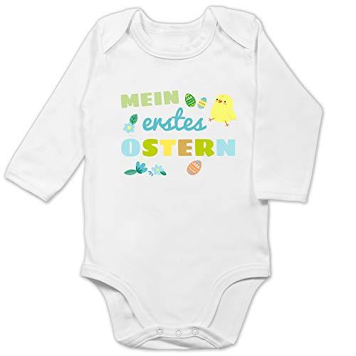 Shirtracer Ostern Baby - Mein erstes Ostern Junge - 6/12 Monate - Weiß - Osterhase Baby Outfit - BZ30 - Baby Body Langarm