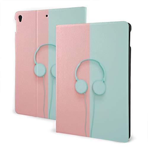 KXT White Headphone iPad 10.2inch 7th Generation Case, Lightweight Slim Shell Standing Hard Back Cover Tablet