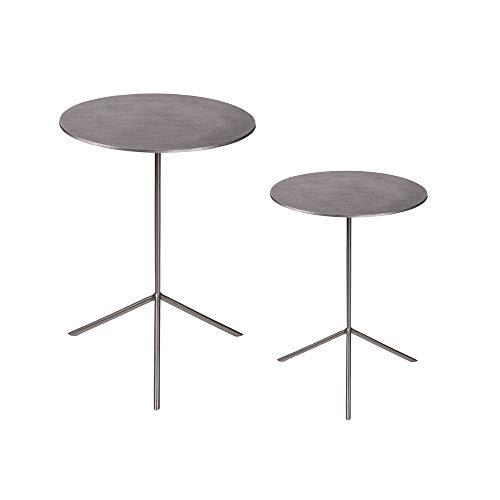 TABLE PASSION - Set de 2 Tables d'appoint Argent, diamètres 39 et 36 cm