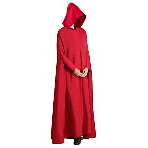 NUWIND Disfraz de el Cuento de la criad Capa Handmaids Tale Costume Vestido Saya Mujer para Disfraces de Halloween Cosplay (XL, Capa con Capucha B)