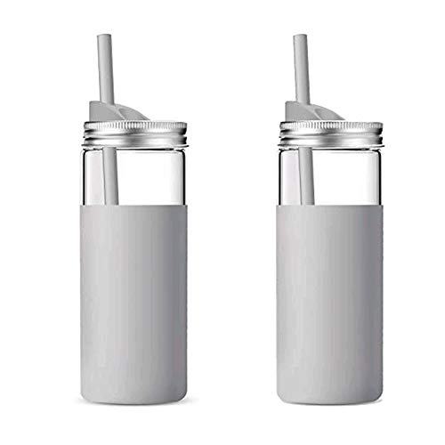 tronco 20Oz Borosilicate Glass Tumbler Bottle with Unbreakable Metal Mason Jar Style Lid and Protective Silicone Sleeve and Silicon Straw 2-Piece Set Pair BPA-Free Easy Cleaning