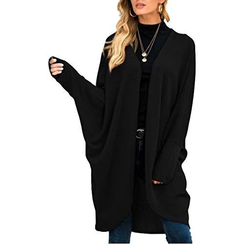 Katenyl Chaqueta de punto de punto para mujer, relajada, de longitud media, color sólido, simplicidad, moda, abrigo de todo fósforo, primavera y otoño L