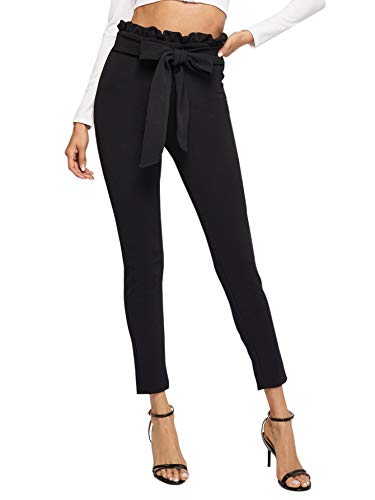 Floerns Women's Stretchy Workwear Office Skinny Pants with Belt A Black M