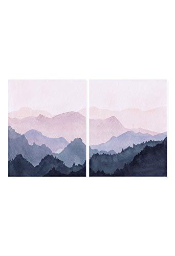 Watercolor Art Print, Pink wall art, Mountain Poster, Watercolour set prints, Set of 2 Prints, Scandinavian Art, Mountain Print, Wall Art, 2 piece Print, Unframed (24' x 36' x 2 Prints)