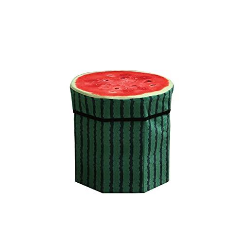 GLALAXY Creative Fruit Placa de Almacenamiento Organizador Ottoman Stool Ottoman Asiento Caja de Almacenamiento Tamaño Pequeño Organizador de Caja de Almacenamiento (Color : Watermelon)