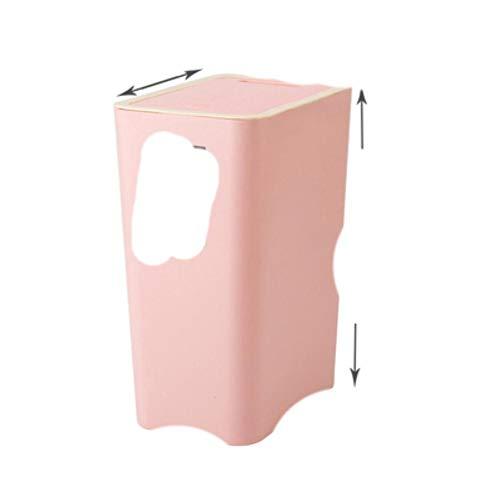 Bote de basura de 8L / 12L, plástico grueso para el hogar, cocina, baño, papelera, sala de estar, inodoro, bote de basura, papel de oficina, 12L, rosa